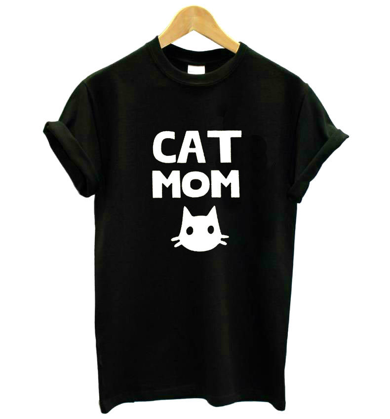 CAT MOM Print t-shirt Women's Cotton Casual Funny Top Tee