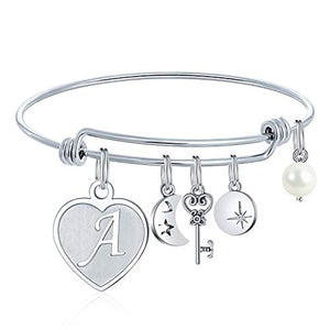 Heart  Initial Charm Engraved Letter