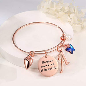 Bracelet Expandable Initial A to Z Letter Charm Butterfly