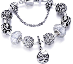 Silver Charms Bracelet Crystal Flower