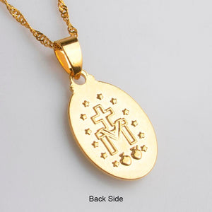 Virgin Mary Pendant Necklace Fine Gold