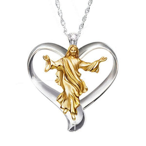 Heart Jesus Necklaces Gold and Silver Two-tone