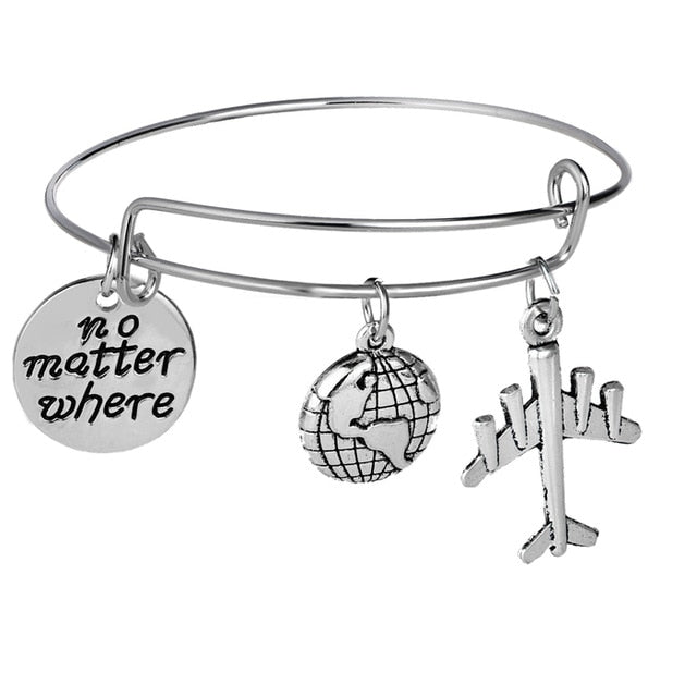 Travel Bracelet Globe Earth Airplane Camera Passport Compass Wanderlust