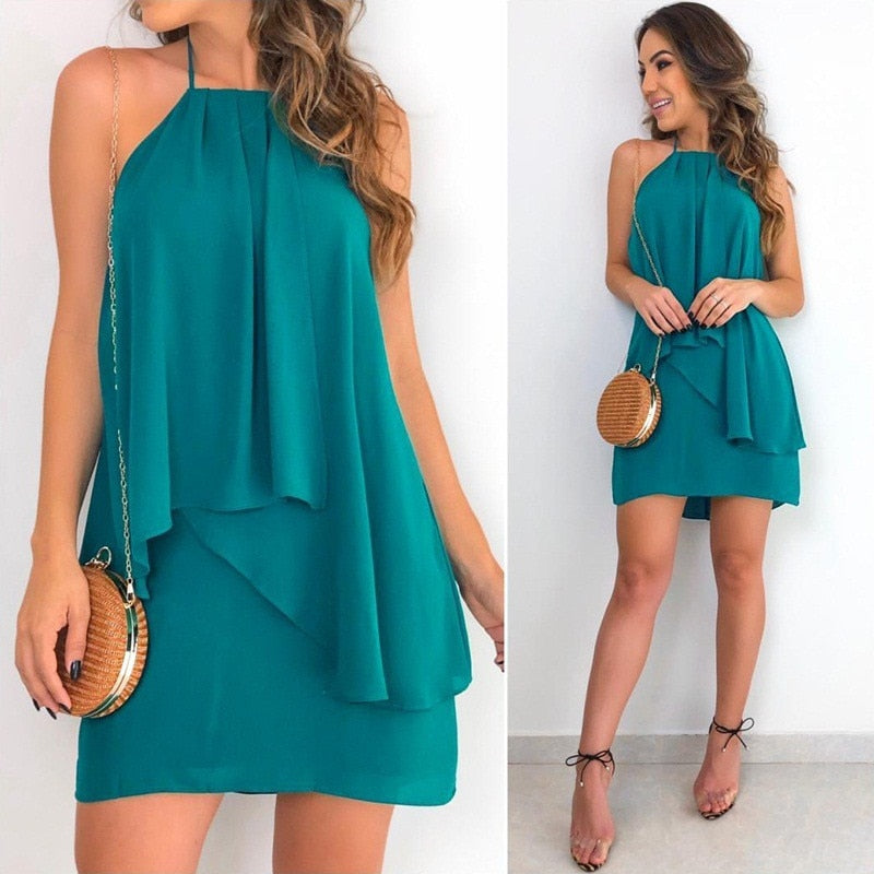 Women Sexy Sleeveless Irregular Dress