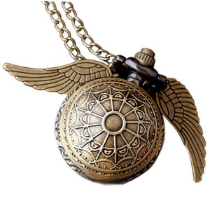 Retro Clock Harry Potter Necklace Pocket Watch