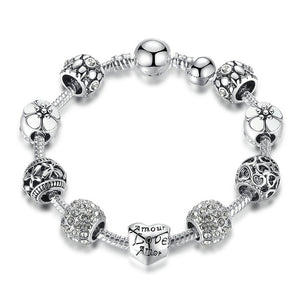 Silver Charm & Bangle with Love Bracelet