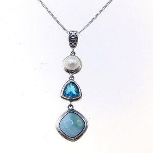Natural Larimar 925 Sterling Silver Antique Design