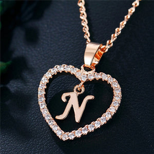 Romantic Love Pendant Necklace Initial Letter
