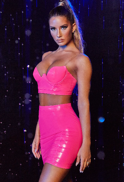 Double Take Vinyl High Waisted Mini Skirt in Hot Pink
