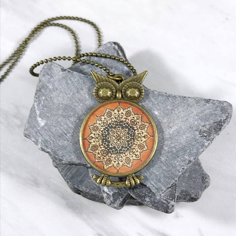 Blue and Orange Inspired Mandala Owl Necklace in Bronze