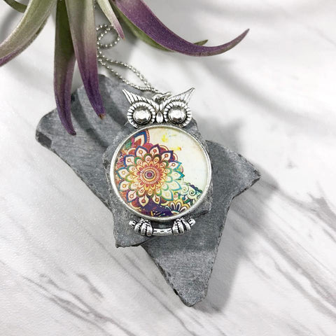 Boho Flower Owl Necklace