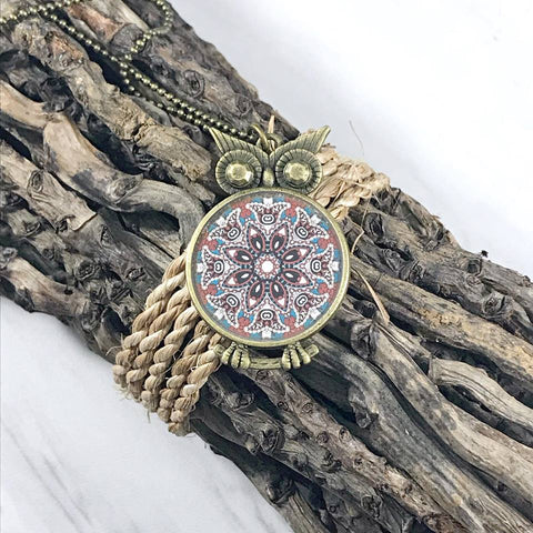 Owl Flower Mandala Necklace