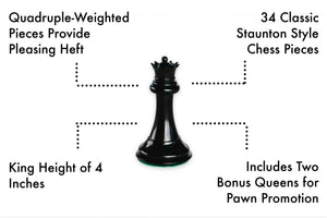 Tournament Chess Set with Heavyweight Game Pieces, Durable Chess Board and Strategy Guide