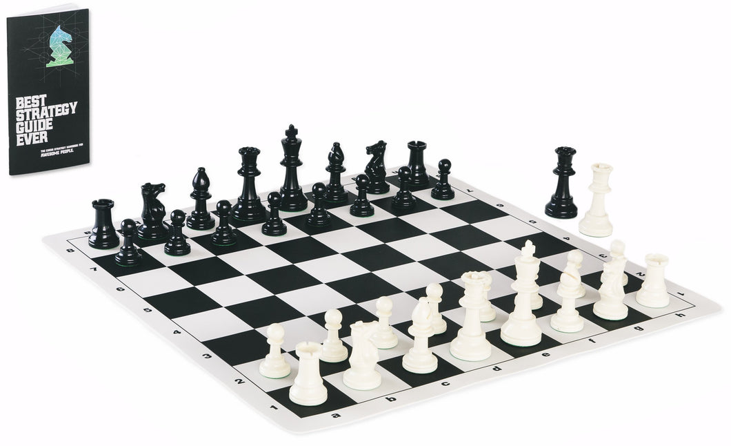 Contemporary Tournament Chess Set Includes Triple Weighted Game Pieces, Durable Chess Board, and Strategy Guide
