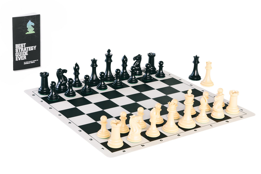 Tournament Chess Set with Quadruple Weighted Game Pieces, Durable Chess Board and Strategy Guide