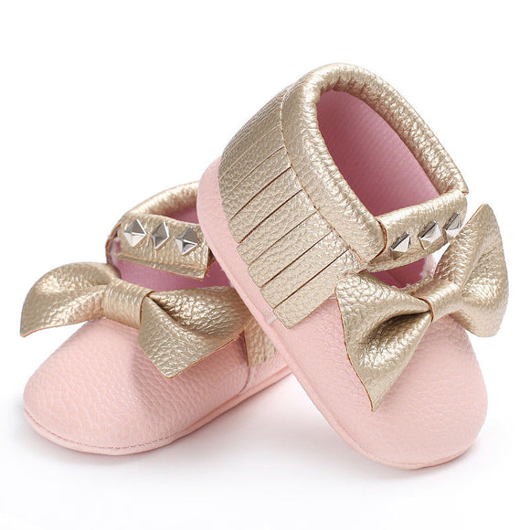 Pink & Gold Tassel Soft Sole Anti-slip Shoes