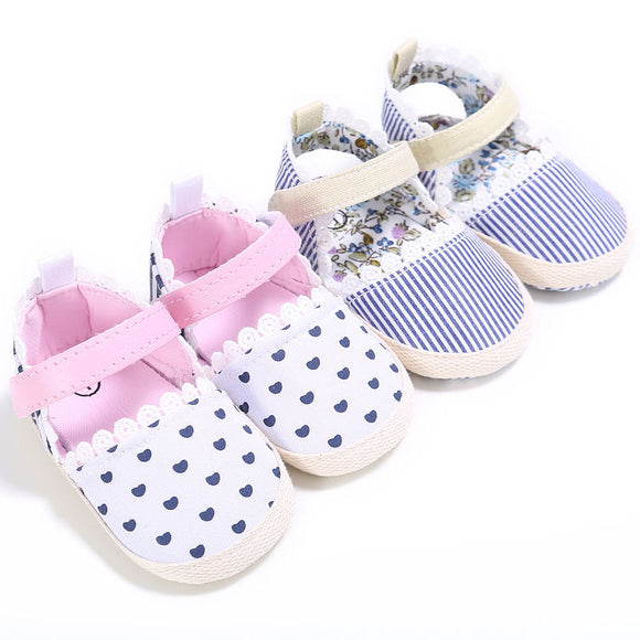Blue Striped Soft Sole Shoes - 5 Storks