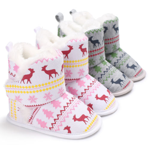 Winter Print Anti-slip plush Snow Boots - 5 Storks
