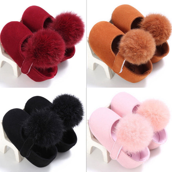 Warm Baby Girl Pom Pom Shoes