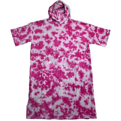 The Amigo Terry Cotton Towel Poncho - Pink/Grey Tie Dye