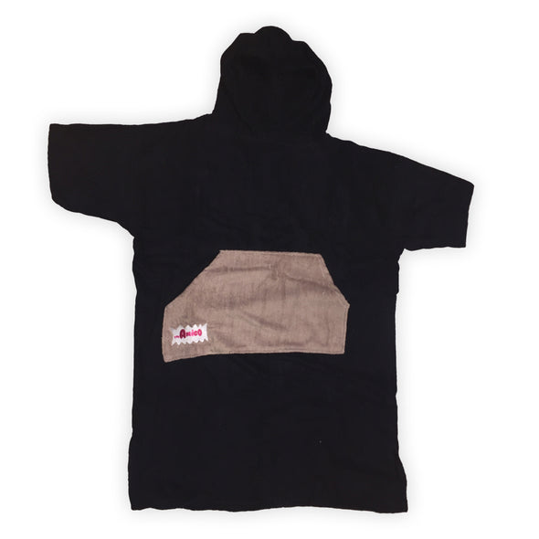 The Amigo Teen Towel Poncho - Black/Coffee