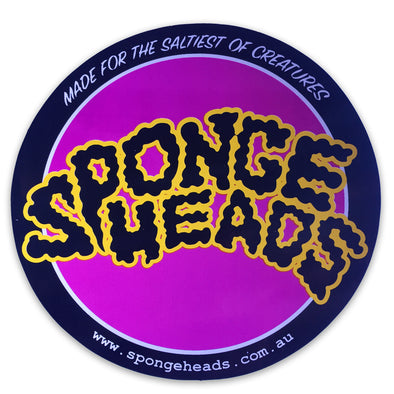 SPONGEHEADS STICKER ROUND -  BLACK/WHITE/PURPLE/YELLOW