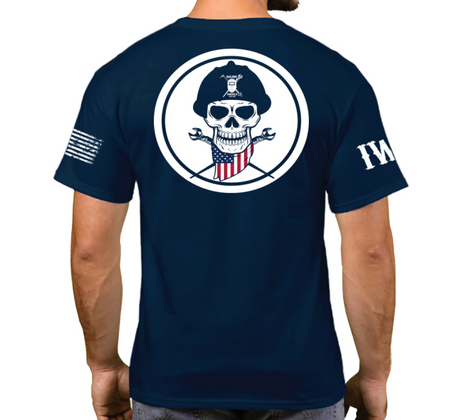 Navy Blue Short Sleeve T-Shirt- American Skull