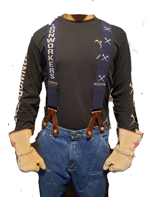 Blue - Building America Ironworker Button-On Suspenders