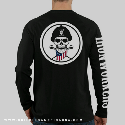 Black Long Sleeve Tee - American Skull