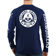 Cut And Burn Ironworker Skull - Navy Blue Long Sleeve