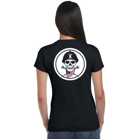 Women's Black Short Sleeve - American Skull