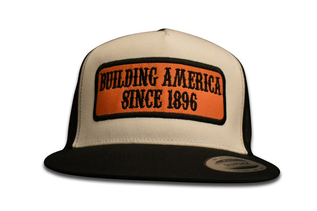 Building America Since 1896-  Classic Snapback Orange Patch Black Stitching