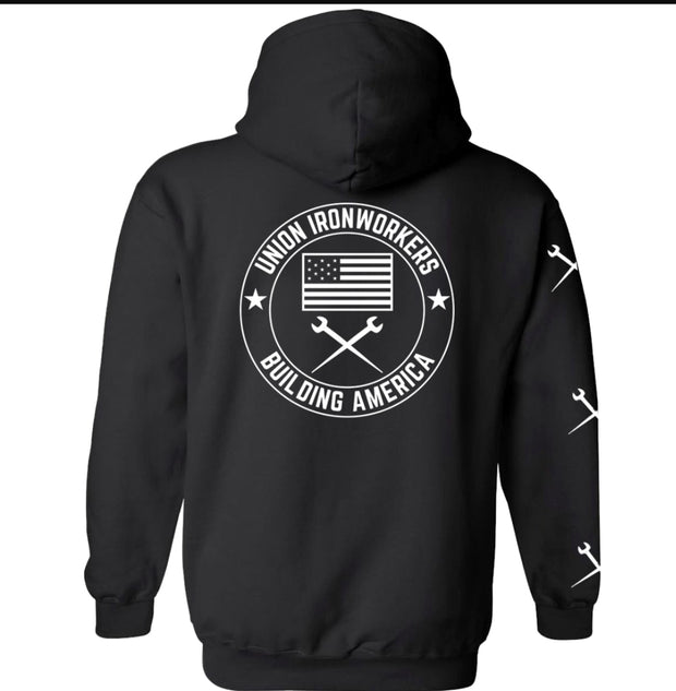 Black Hoodie - Union Ironworker Stars And Stripes