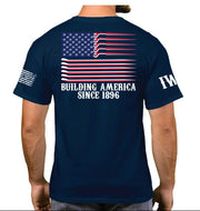 Navy Blue Short Sleeve T-Shirt - USA Flag