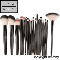 18 Pcs Makeup Brush Set Tools Make-Up Toiletry Kit Wool Make Up Black / China