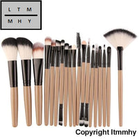 18 Pcs Makeup Brush Set Tools Make-Up Toiletry Kit Wool Make Up Coffee / China