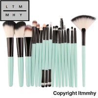 18 Pcs Makeup Brush Set Tools Make-Up Toiletry Kit Wool Make Up Green / China