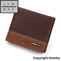 2015 Hot Mens Pu Leather Bifold Money Card Holder Wallet Coin Purse Carteiras Dos Homens Coffee