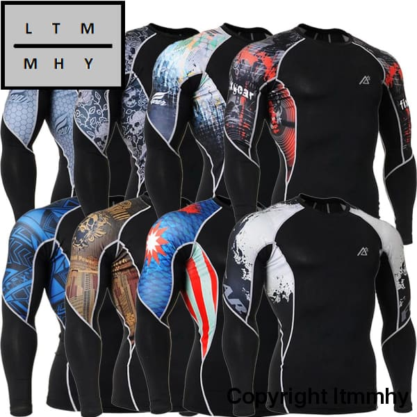 2017 Mens Gym Wear Compression Long Sleeve Tshirt Fitness Crossfit Workout Clothes Training T Shirt