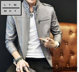 2017 New Mens Collar Leather Dresses Young Jacket Fashion High Quality Hoho 6 / M
