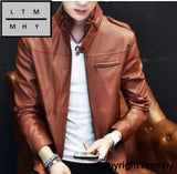 2017 New Mens Collar Leather Dresses Young Jacket Fashion High Quality Hoho 7 / M