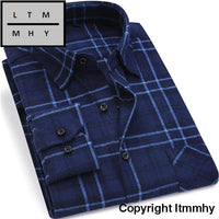 2017 New Mens Plaid Shirt 100% Cotton High Quality Business Casual Long Sleeve Male Social Dress