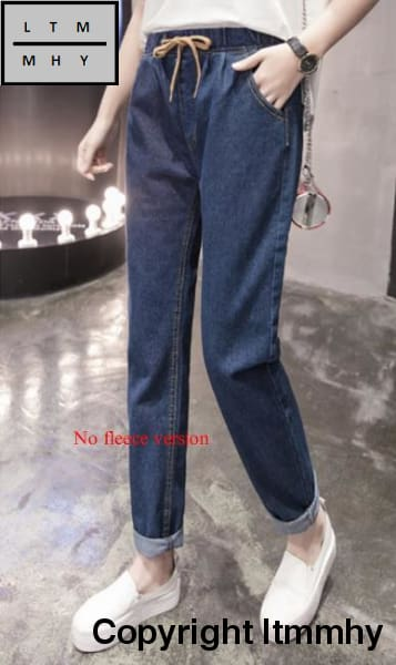 2017 Plus Size Velvet Female Jeans Trousers Big Yards Dress Thickening Denim Pants Long No Fleece /