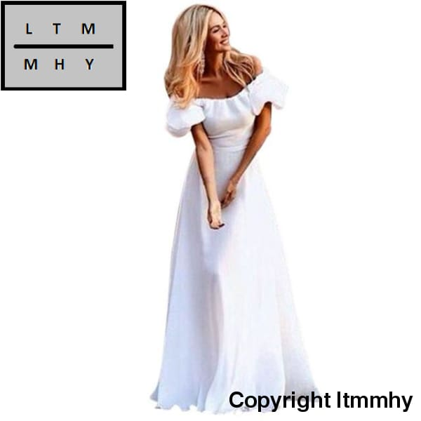 2017 White Summer Dress Women Sexy Off Shoulder Maxi Boho Solid Beach Long Evening Party Vestidos /