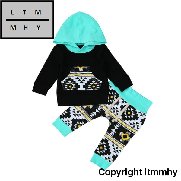 2Pcs Baby Boys Clothes Set Toddler Infant Baby Boy Clothes Set Geometric Hoodie Tops+Pants Outfits