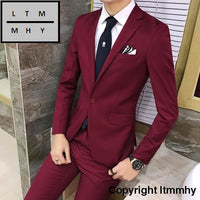 2Pcs/set 2016 New Fashion Korean Style Slim Black Mens Suit With Pants High Quality Wedding Suits