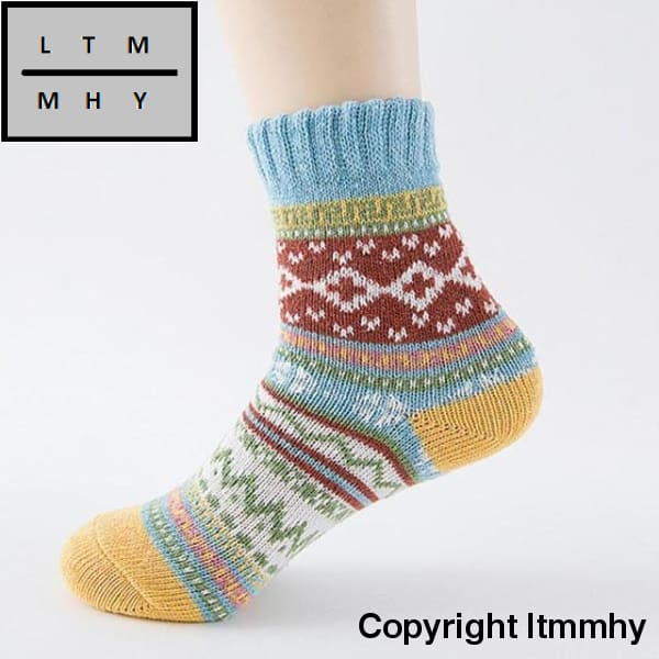 32Cm High Quality Womens Cashmere Wool Thick Warm Socks Winter Fashion Striped #lsn Blue