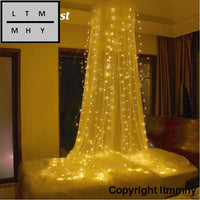 3*3M 300-Led Christmas Lights Outdoor Indoor Fairy Curtain String Lamp With Pendant Wedding