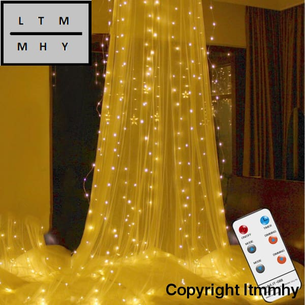 3*3M 300Led Curtain Light Rf Remote Control String With Diamond Pendant & Hook Outdoor Indoor Party