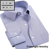 4Xl 5Xl 6Xl 7Xl 8Xl Large Size Mens Business Casual Long Sleeved Shirt White Blue Black Striped Male